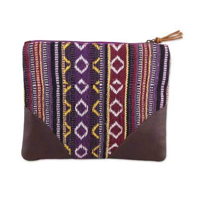 Handmade Versatile Striped Cotton Cosmetic Purse from India