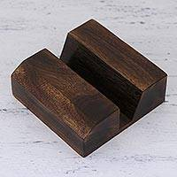 Wood cell phone stand, 'Close At Hand' - Wood Cell Phone Stand Hand Carved in India
