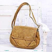 Leather shoulder bag, 'Indian Adventure' - Handcrafted Brown Leather Shoulder or Sling Bag