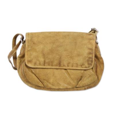Novica Leather shoulder bag, Indian Fashion
