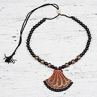 Ceramic pendant necklace, 'Coral Surprise' - Hand-Painted Black and Copper Ceramic Pendant Necklace