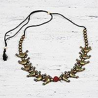 Ceramic beaded necklace, 'Golden Birds' - Hand-Painted Golden Birds Ceramic Beaded Adjustable Necklace