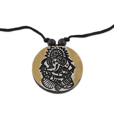 Ceramic Golden Lord Ganesha Round Pendant Necklace