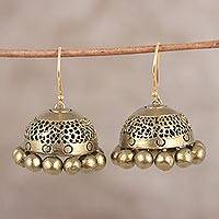Ceramic dangle earrings, 'Golden Pebbles' - Hand-Painted Metallic Golden Ceramic Jhumka Earrings