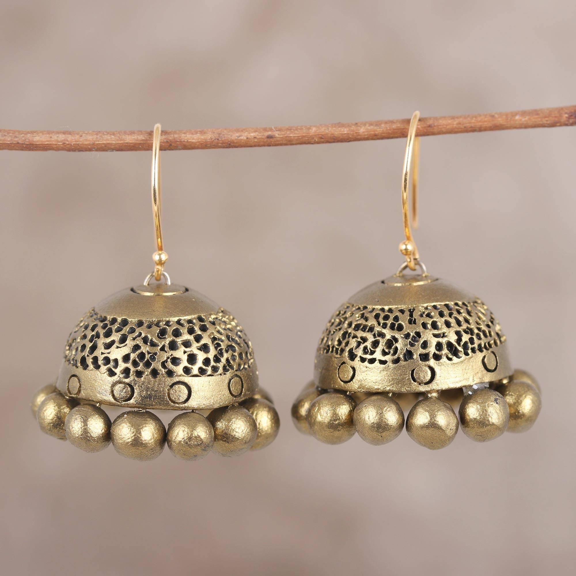 Ceramic dangle earrings, 'Golden Pebbles' Bollywood Jewelry