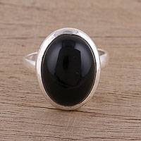 Onyx cocktail ring, 'Mystic Hope' - Artisan Handmade 925 Sterling Silver Onyx Cocktail Ring