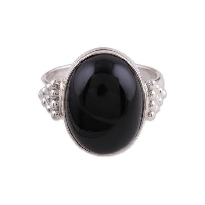 Artisan Handmade 925 Sterling Silver Onyx Cocktail Ring