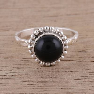 Handmade 925 Sterling Silver Onyx Cocktail Ring India