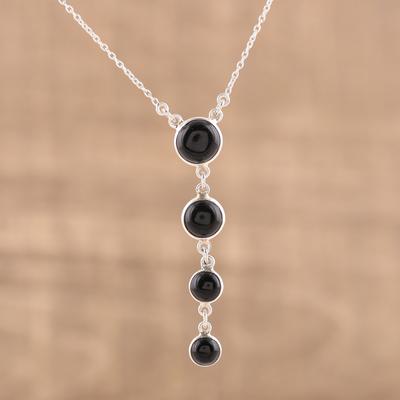 Novica Labradorite and onyx pendant necklace, Dusk Garden