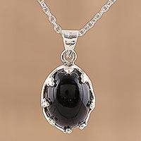 Onyx pendant necklace, 'Midnight Majesty' - 925 Sterling Silver Black Onyx Pendant Necklace from India