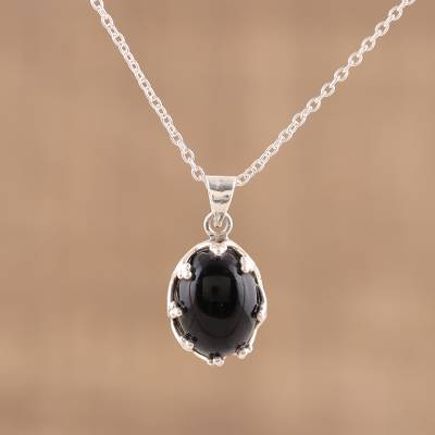 925 sterling silver black onyx pendant necklace from india onyx pendant necklace midnight majesty 925 sterling silver black onyx pendant necklace aloadofball Images