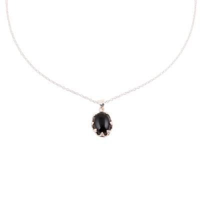 925 Sterling Silver Black Onyx Pendant Necklace from India