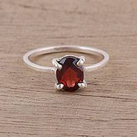 Garnet solitaire ring, 'Glamorous Red' - Handmade Garnet 925 Sterling Silver Solitaire Ring