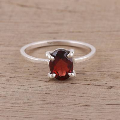 silver ring information phone - Handmade Garnet 925 Sterling Silver Solitaire Ring