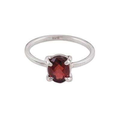 Handmade Garnet 925 Sterling Silver Solitaire Ring