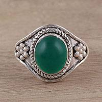 Onyx cocktail ring, 'Green Ecstasy' - Handmade Green Onyx 925 Sterling Silver Cocktail Ring