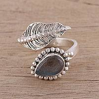 Labradorite wrap ring, 'Blissful Alliance' - Handmade 925 Sterling Silver Labradorite Wrap Ring India
