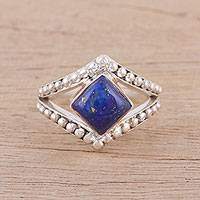 Lapis lazuli cocktail ring, 'Opulent Eye' - Handmade 925 Sterling Silver Lapis Lazuli Cocktail Ring