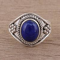 Lapis lazuli cocktail ring, 'Blue Ecstasy' - Handmade 925 Sterling Silver Lapis Lazuli Cocktail Ring