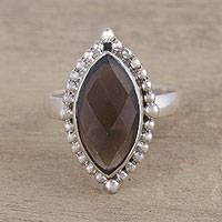 Smoky quartz cocktail ring, 'Dusky Haze' - Handmade Smoky Quartz 925 Sterling Silver Cocktail Ring