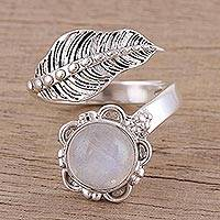 Rainbow moonstone wrap ring, 'Forever Natural' - Leaf-Shaped Rainbow Moonstone Wrap Ring from India