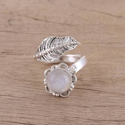 silver rope necklace - Leaf-Shaped Rainbow Moonstone Wrap Ring from India