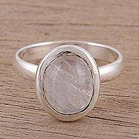 Rainbow moonstone single stone ring, 'Oval Elegance' - Oval Rainbow Moonstone Single Stone Ring from India