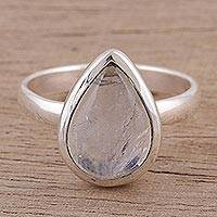 Rainbow moonstone single stone ring, 'Natural Drop' - Teardrop Rainbow Moonstone Single Stone Ring from India