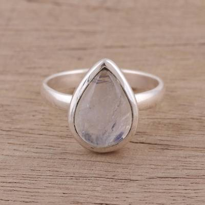 silver necklace bean paste - Teardrop Rainbow Moonstone Single Stone Ring from India