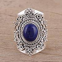 Lapis lazuli cocktail ring, 'Magnificent Swirls' - Artisan Crafted Lapis Lazuli Cocktail Ring from India