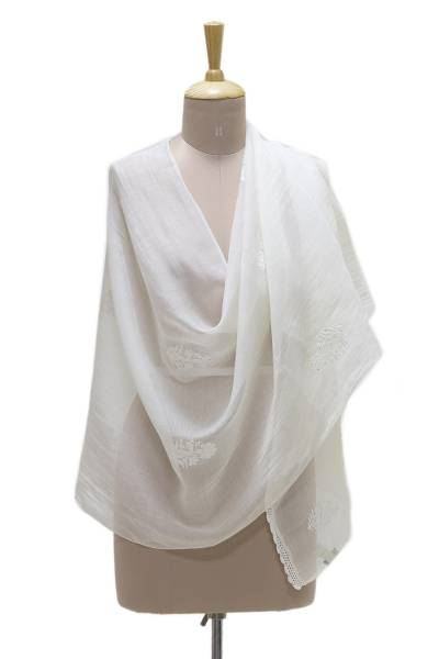 Cotton and silk blend shawl, 'Elegant Blossom' - Warm White Embroidered Sheer Cotton and Silk Blend Shawl