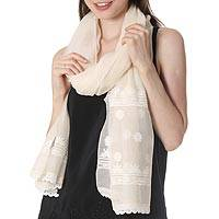 Cotton and silk blend shawl, 'Classic Beauty' - Warm White Embroidered Sheer Cotton and Silk Blend Shawl