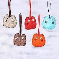 Wool felt ornaments, 'Waiting for Santa' (set of 5) - Cute Handmade Wool Felt Cat Ornaments (Set of 5)