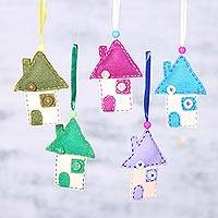 Wool felt ornaments, 'Home for the Holidays' (set of 5) - Charming House Shaped Wool Felt Ornaments (Set of 5)