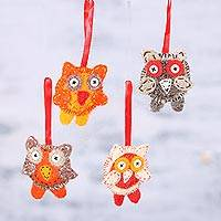 Wool ornaments, 'Owl Quartet' (set of 4) - Four Handcrafted Wool Owl Ornaments from India
