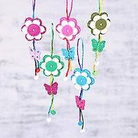 Wool ornaments, 'Holiday Fragrance' (set of 5) - Five Handcrafted Wool Flower Ornaments from India