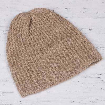 Wool blend hat, 'Himalayan Waves Ecru' - Hand-Knit Ecru Wool Blend Zigzag Ribbed Hat from India
