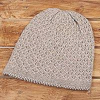 Wood blend hat, 'Himalayan Comfort in Ecru' - Hand Knitted Ecru Brown Wool Blend Hat from India