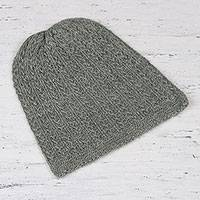 Wool blend hat, 'Knotted Beauty Celadon' - Celadon Hand-Knit Vertical Knots Wool Blend Hat from India