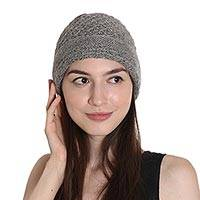 Wood blend hat, 'Himalayan Comfort in Jade' - Hand Knitted Jade Green Wool Blend Hat from India