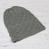 Wool blend hat, 'Charming Maze' - Celadon Green Hand-Knit Maze Wool Blend Hat from India