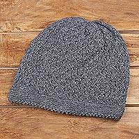 Wood blend hat, 'Himalayan Comfort in Graphite' - Hand Knitted Graphite Grey Wool Blend Hat from India
