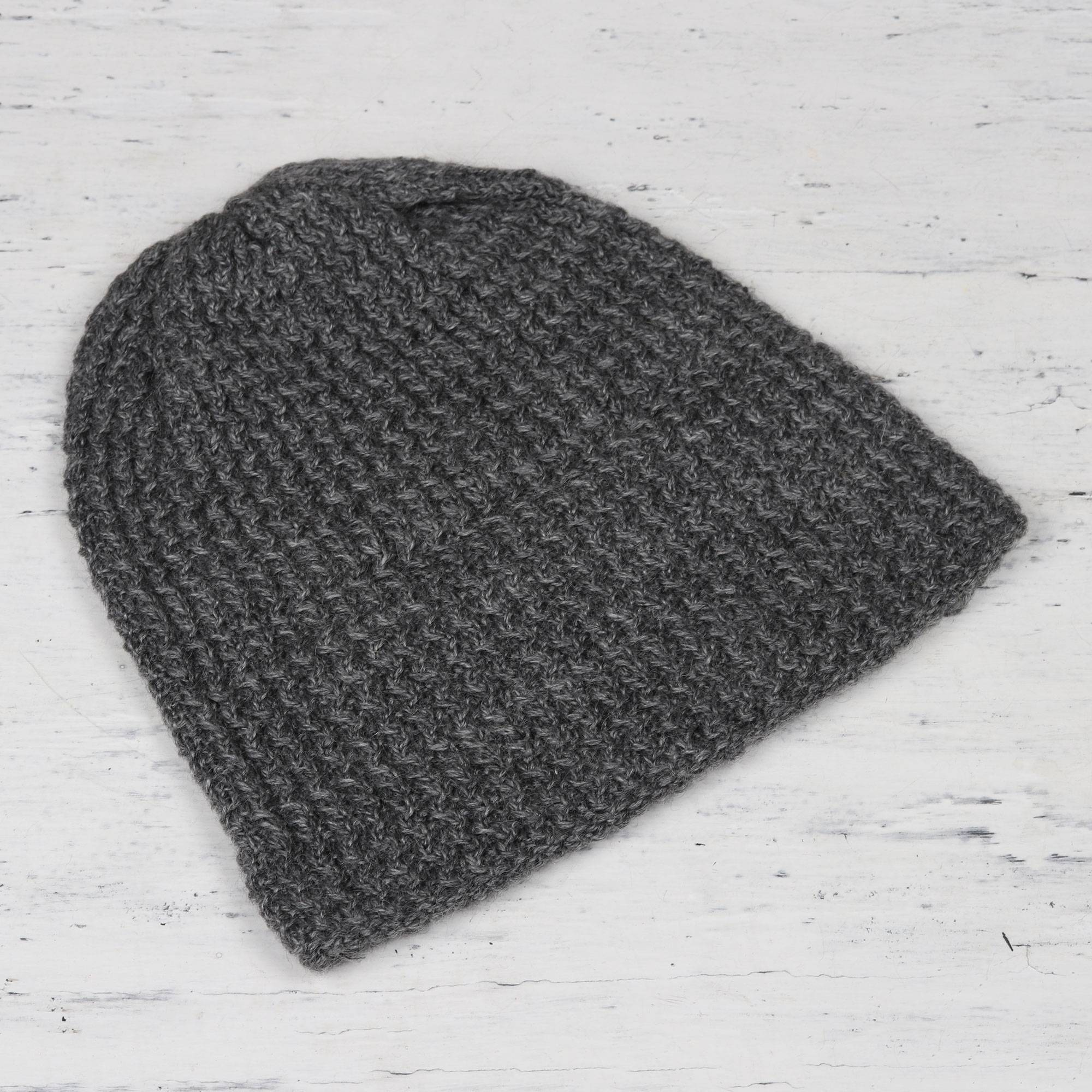 Graphite Hand-Knit Zigzag Ribbed Wool Blend Hat from India ... dce6a06bf40