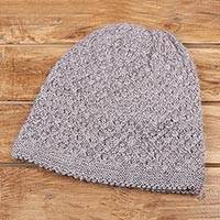 Wood blend hat, 'Himalayan Comfort in Lilac' - Hand Knitted Lilac Wool Blend Hat from India