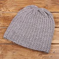Wool blend hat, 'Himalayan Waves Lilac' - Dusty Lilac Hand-Knit Wool Blend Zig Zag Ribbed Hat