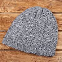 Wool blend hat, 'Knotted Beauty Grey' - Medium Grey Hand-Knit Vertical Knot Wool Blend Hat