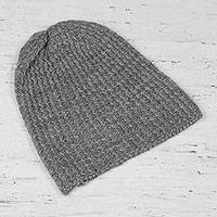 Wool blend hat, 'Himalayan Waves Grey' - Medium Grey Hand-Knit Zigzag Ribbed Wool Blend Hat