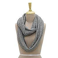 Wool blend infinity scarf, 'Graceful Grey' - Hand-Knit Grey Wool Blend Vertical Ribbed Infinity Scarf