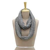 Wool blend infinity scarf, 'Himalayan Cascade' - Hand Knit Himalayan Grey Wool Blend Infinity Scarf