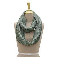 Wool blend infinity scarf, 'Jade Delight' - Jade Green Hand Knit Wool Blend Vertical Knot Infinity Scarf